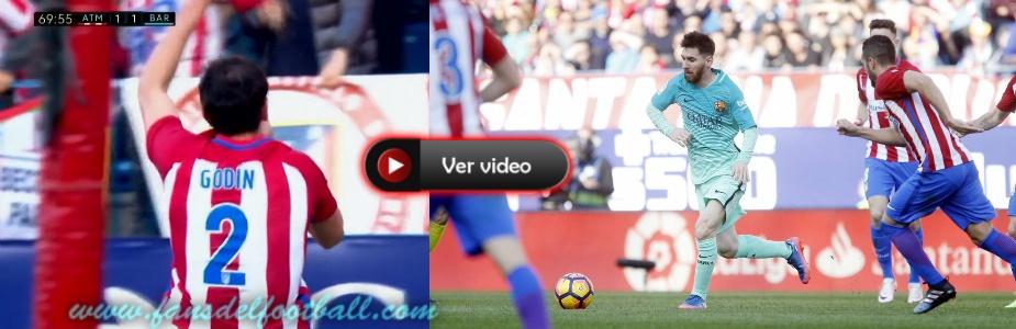 Godin gol para el Atleti pero Messi da la victoria al Barcelona