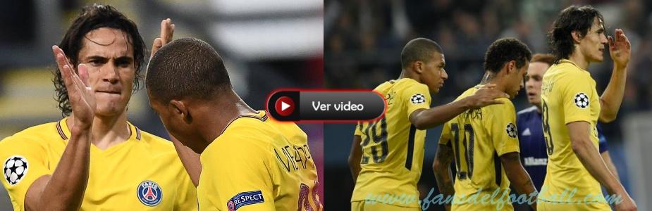 PSG golea de visita al Anderlecht con gol de Cavani