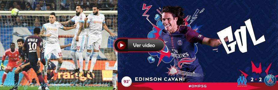 Golazo de Cavani en la hora para el empate de PSG