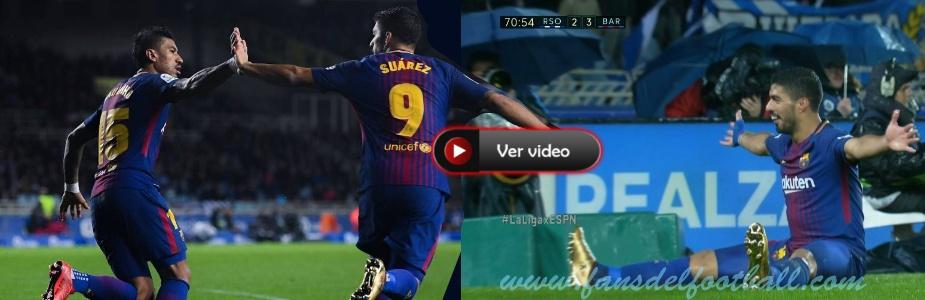 Doblete de Luis Suarez para Barcelona gane 4-2 a Real Sociedad