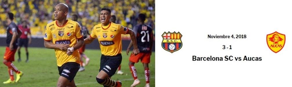 Barcelona derrotó 3-1 a Aucas y sigue en la lucha