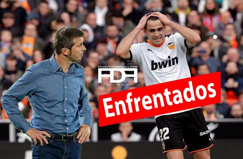 Maxi Gomez enfrentado a su DT en Valencia
