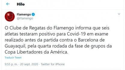 6 jugadores del Flamengo contagiados de Coronavirus
