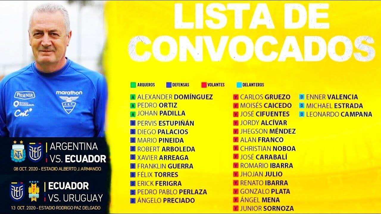 Ecuador presentó la lista de convocados para enfrentar a Argentina y Uruguay