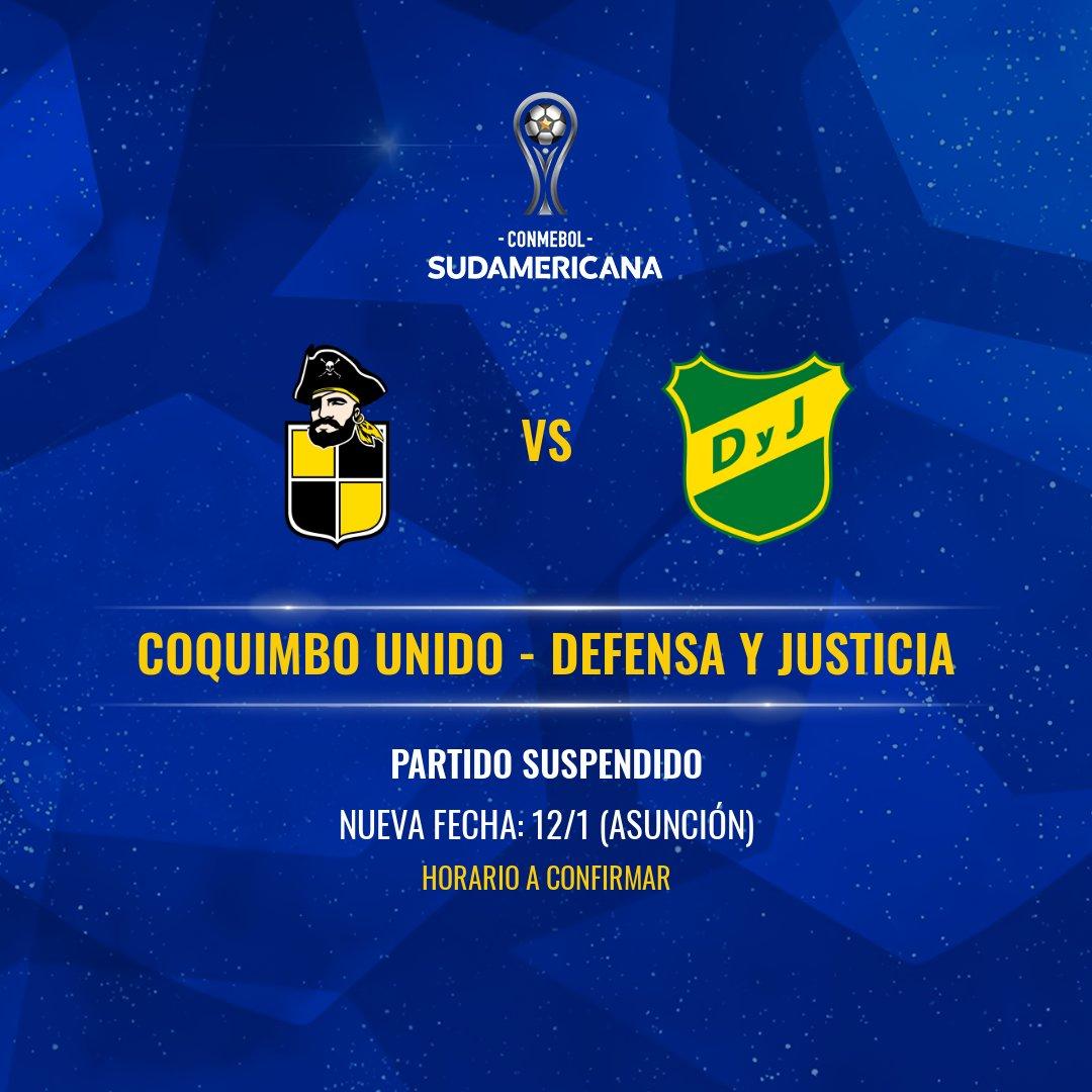 Suspendido el partido de ida por las semifinales de Copa Sudamericana entre Coquimbo Unido y Defensa y Justicia
